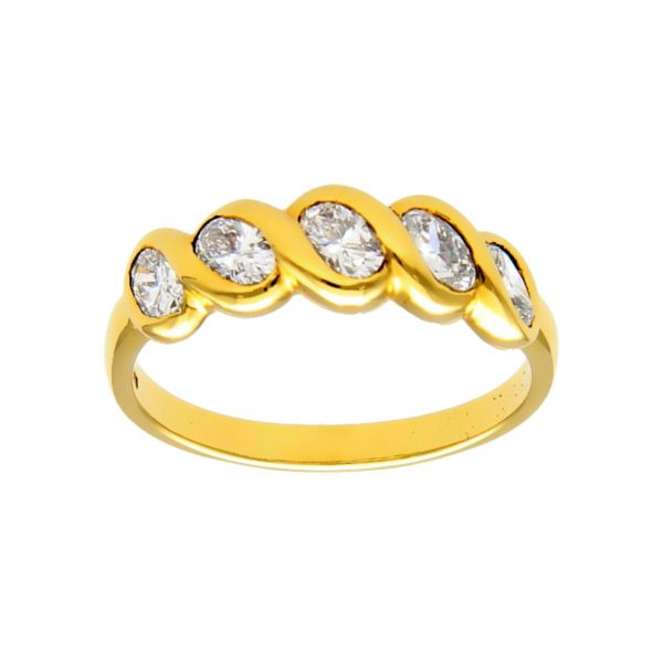 Ring yellow gold with diamonds