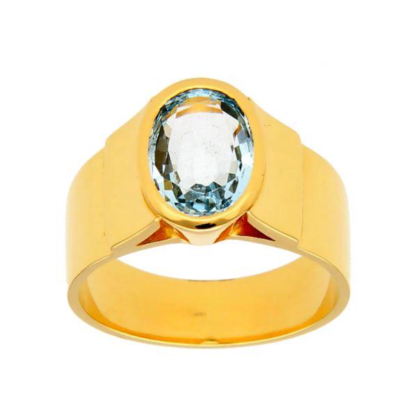 Ring aus Gelbgold mit Aquamarin