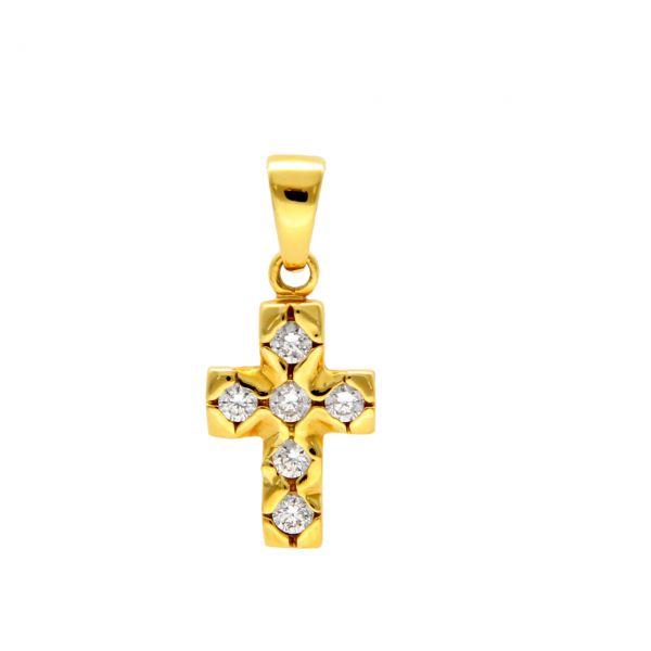 Gelbgold Kreuz-Anhänger mit Diamanten