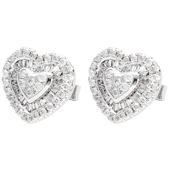 Orecchini Cuore in oro bianco con Diamanti 1,66 ct