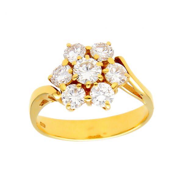 Anillo oro amarillo con flores  diamantes