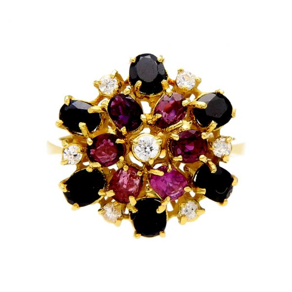 Yellow gold ring with diamonds, sapphires and rubies