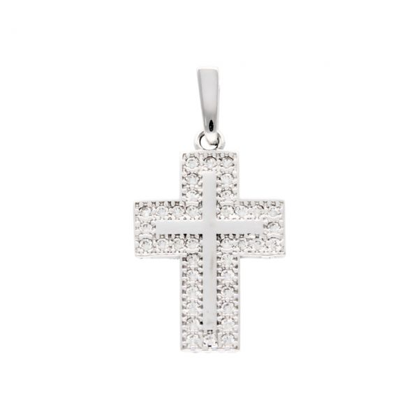 Cross pendant white gold with zircons