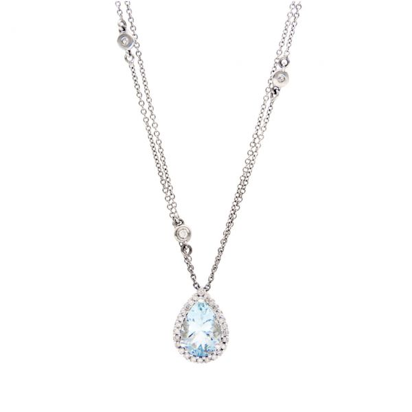 Necklace with pendant white gold with aquamarine and diamonds