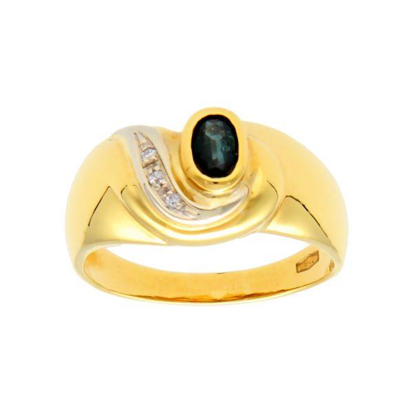 Ring aus Gelbgold mit Diamanten und Saphir