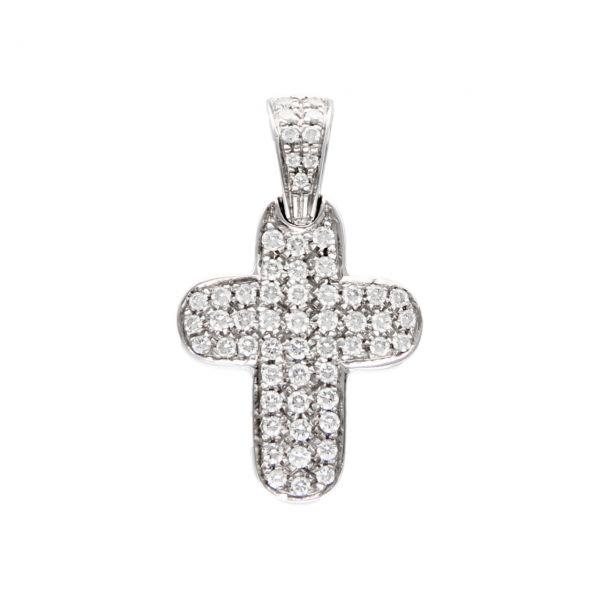 Ciondolo croce oro bianco e diamanti
