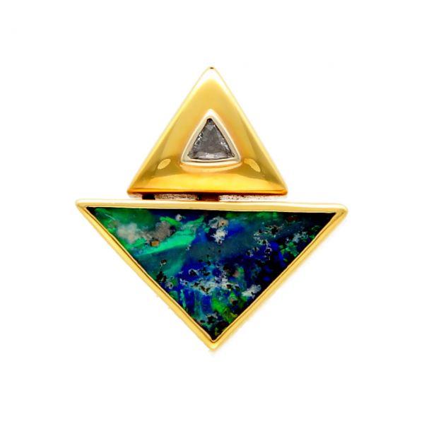 Colgante oro amarillo con diamantes y ópalo