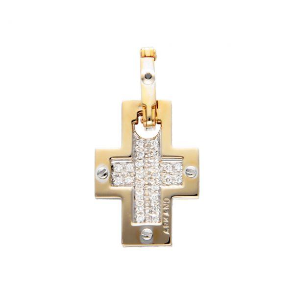 Ciondolo croce due ori e diamanti Arkano