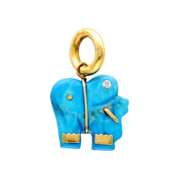 Colgante elefante oro amarillo