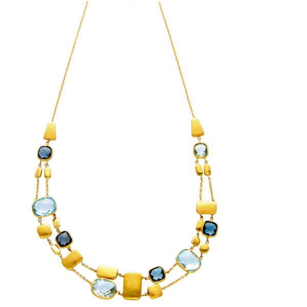 Modern necklace yellow gold with topaz