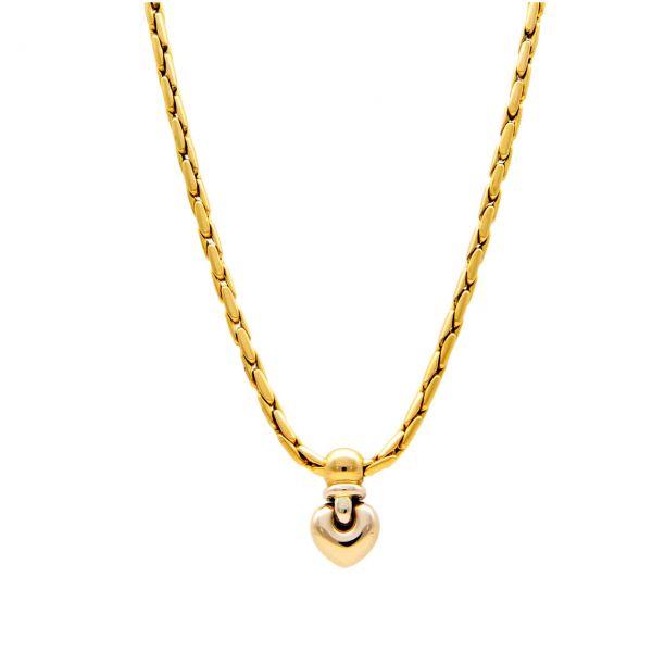 Gelb- und Weißgold Halskette mit Herz-Anhänger