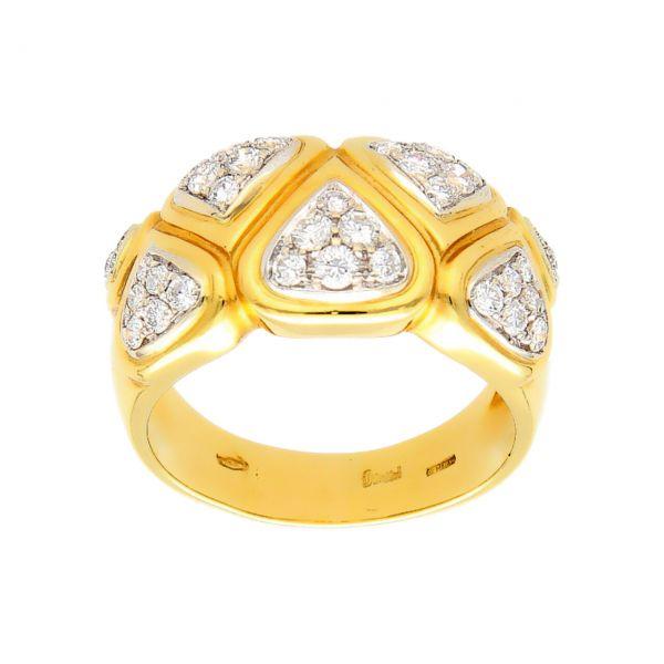 Anello oro giallo con diamanti