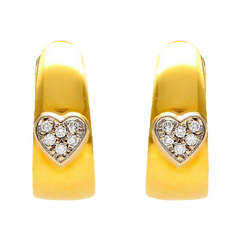 Earrings heart yellow gold with diamond