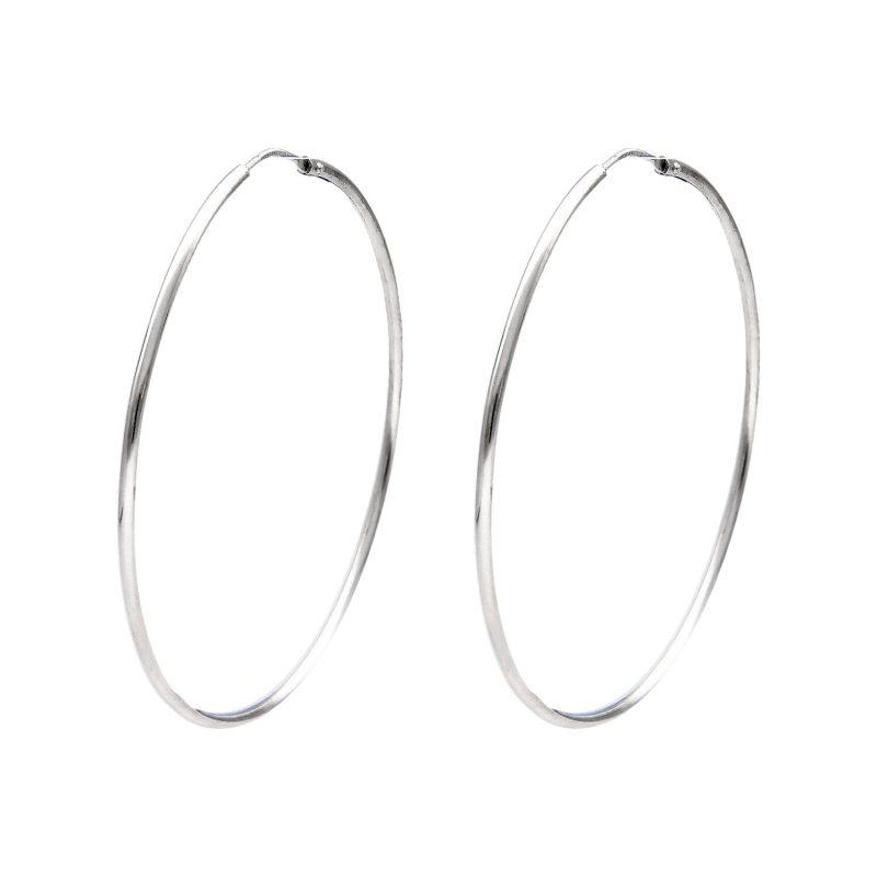 Kreis-Ohrringe aus Weißgold Ø 4.3 cm