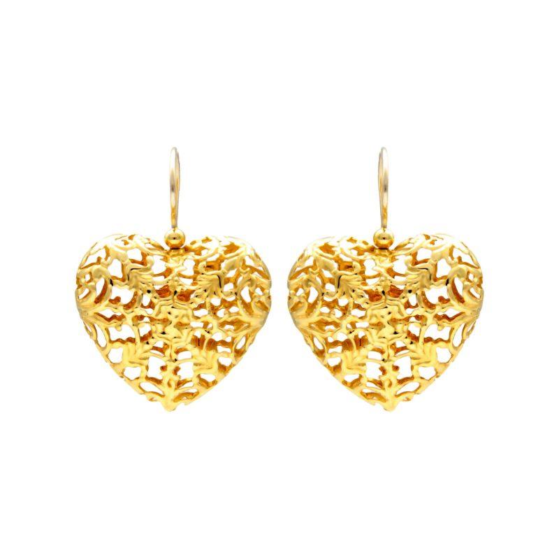 Gelbgold Herz-Ohrringe