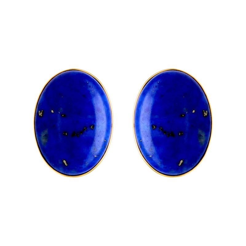 Yellow gold earrings with lapis lazuli