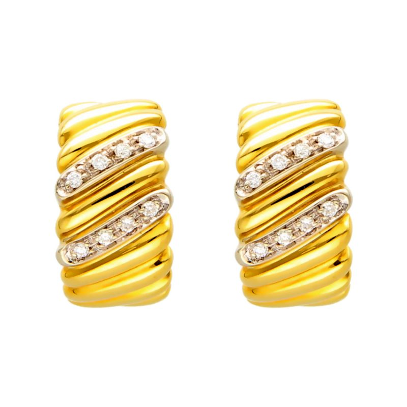 Earrings white and yellow gold with diamonds