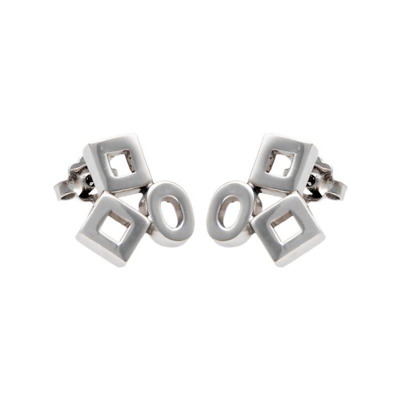 Modern earrings white gold