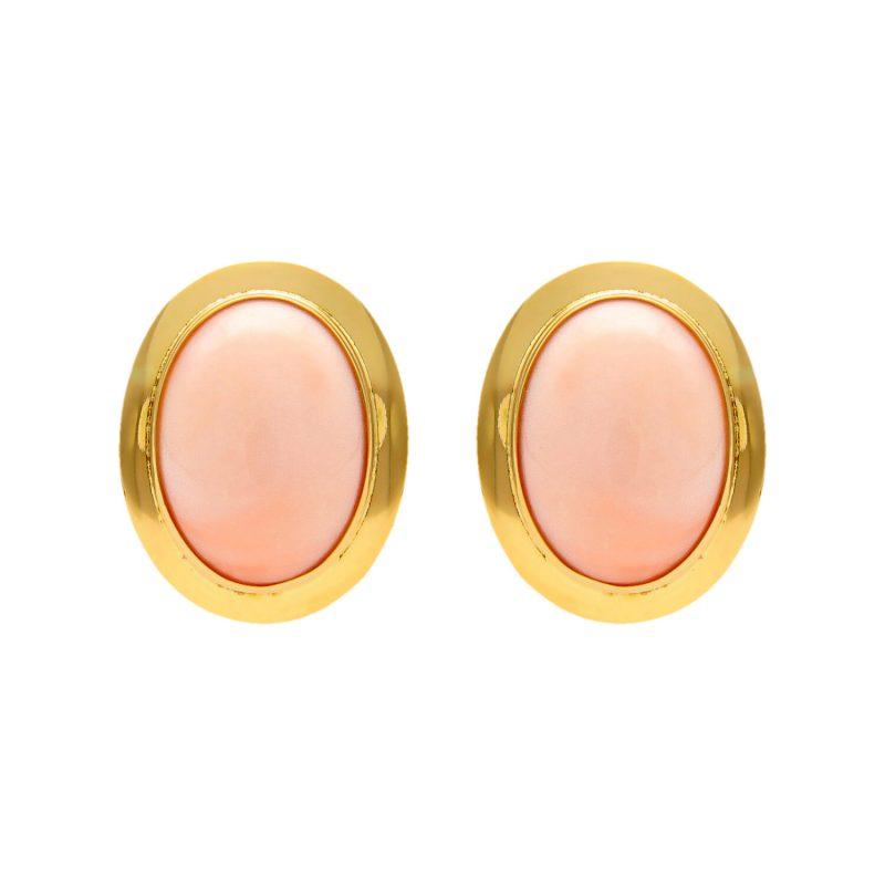 Coppia orecchini oro giallo con corallo rosa