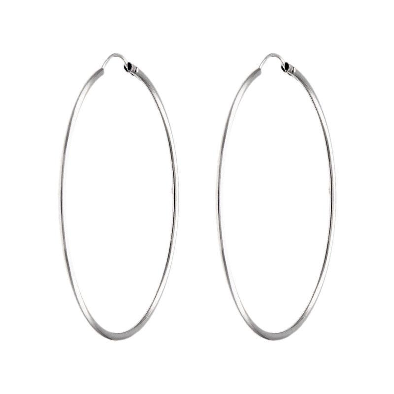 Kreis-Ohrringe aus Weißgold Ø 5 cm