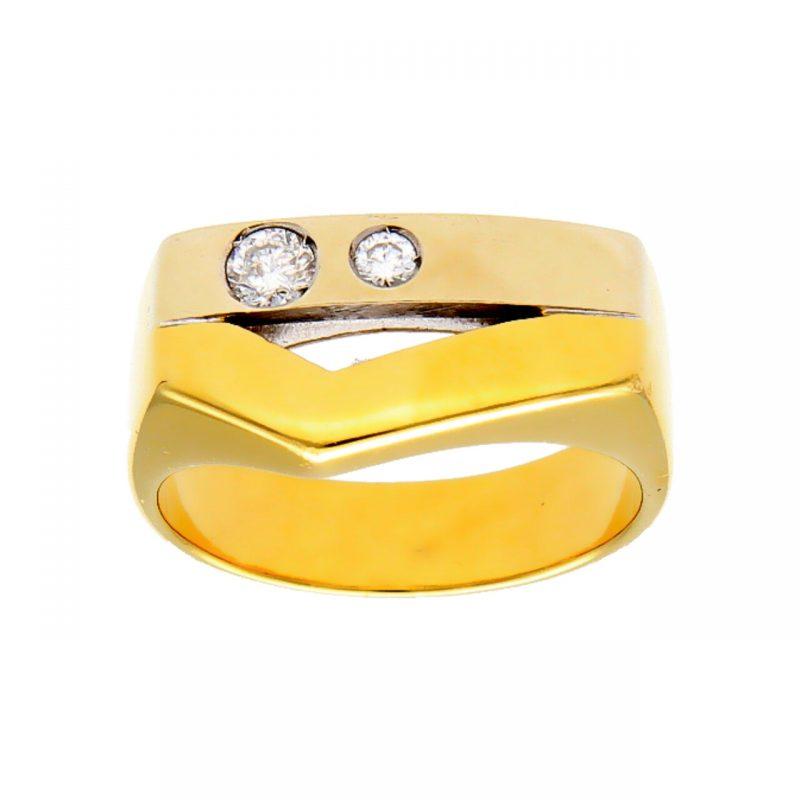 Ring Gelb- und Weißgold mit Diamant