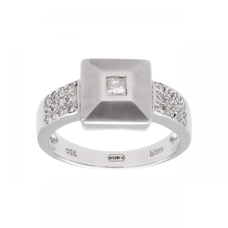 Anello oro bianco con diamanti