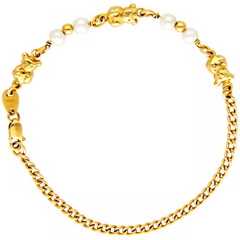 Armband aus Gelbgold mit Teddybären und Perlen