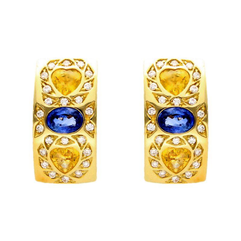 Pendientes oro amarillo con zafiros, topacios y diamantes