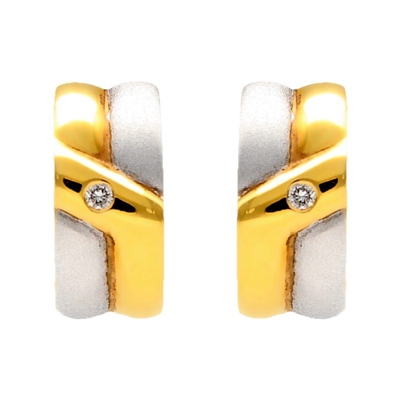 Earrings yellow and white gold with diamonds