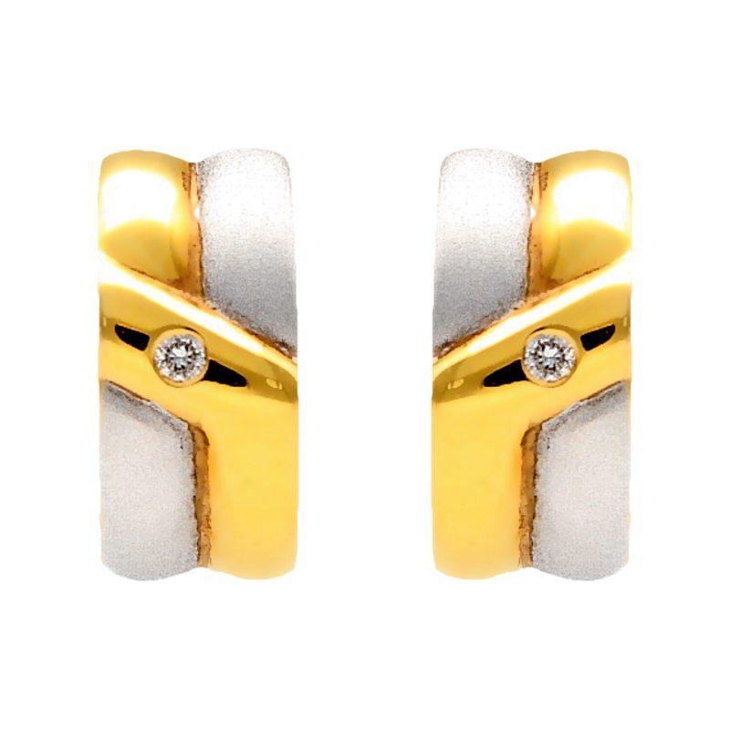 Orecchini oro giallo e bianco con diamanti