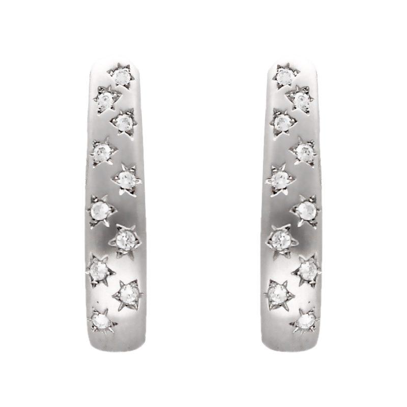 Orecchini oro bianco con diamante