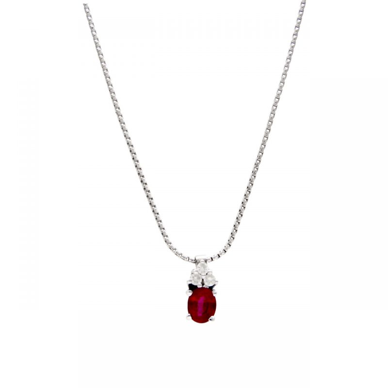 Necklace white gold with ruby ​​and diamonds