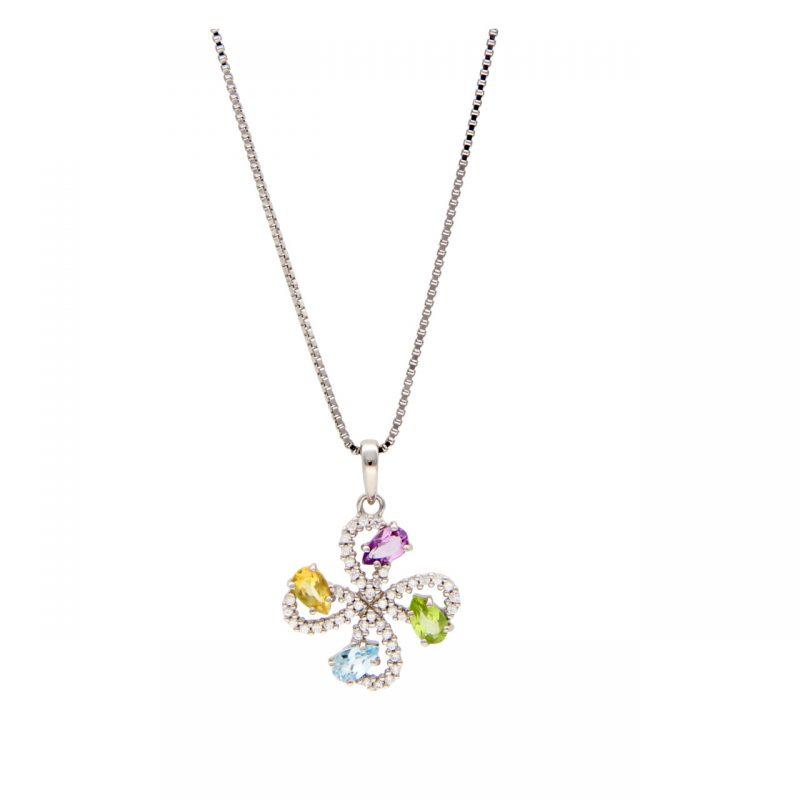 Collana oro bianco con pendente e pietre colorate