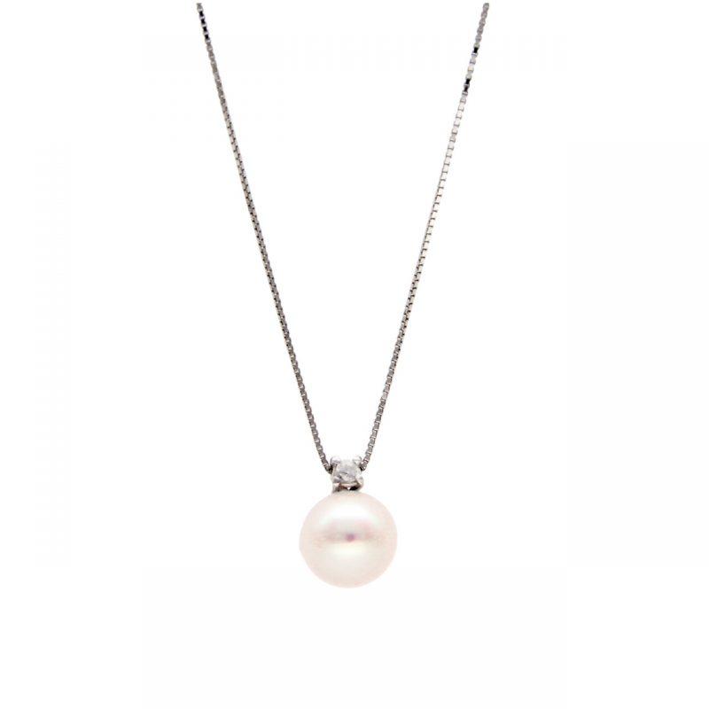 Cadena  oro blanco con perlas y diamantes