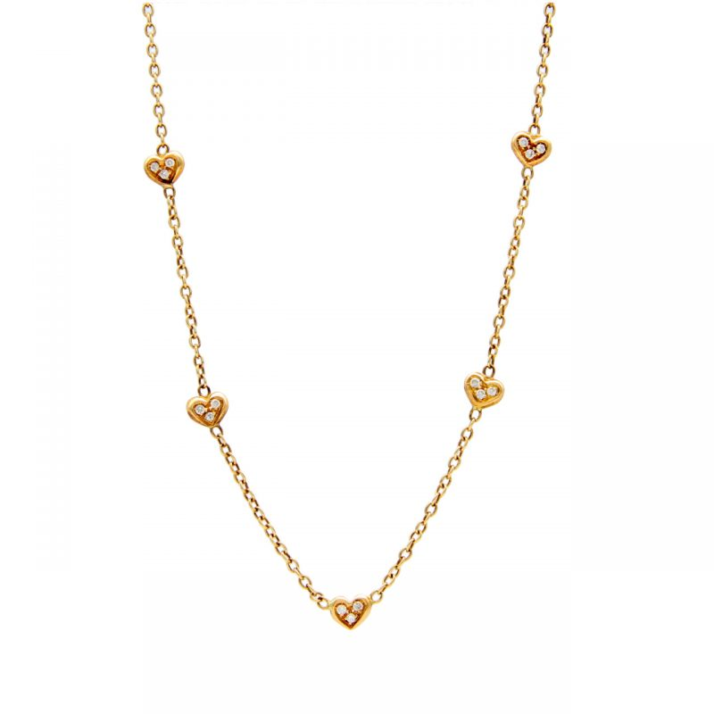 Yellow gold necklace with diamond hearts