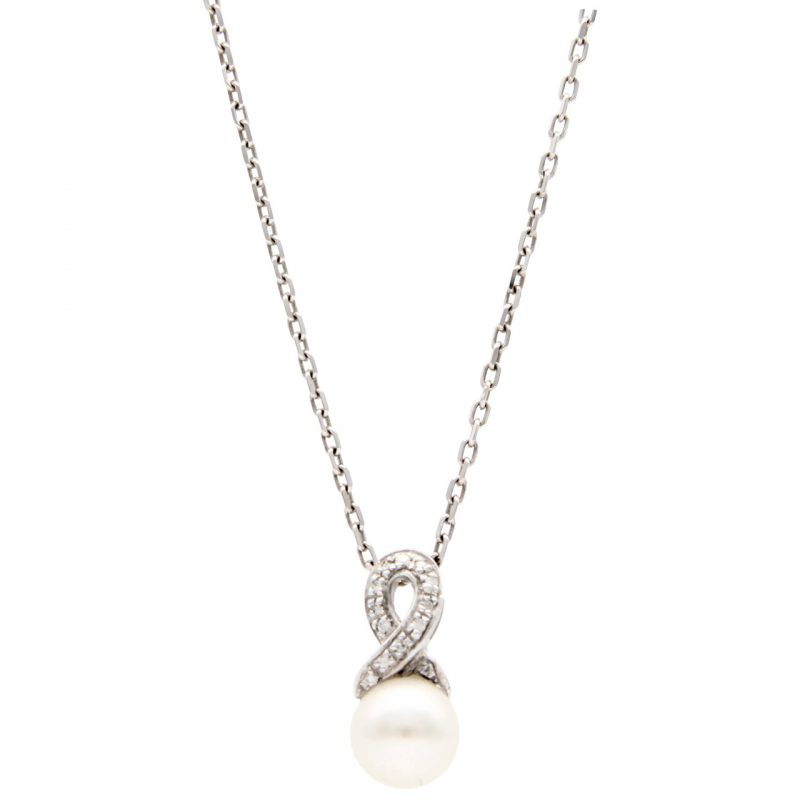 Necklace with pendant white gold with pearl and diamonds