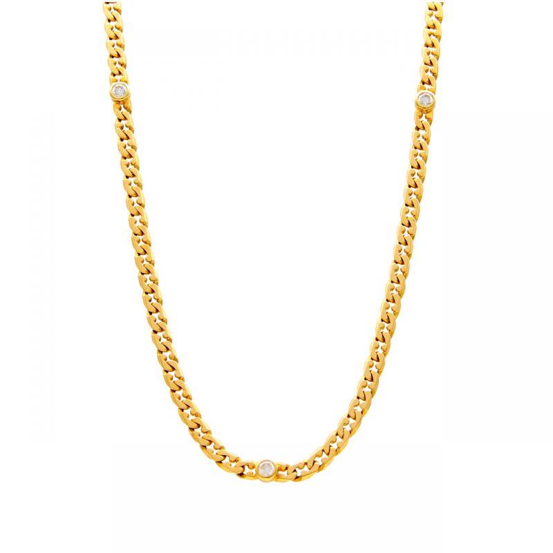 Gelbgold Halskette mit Diamanten
