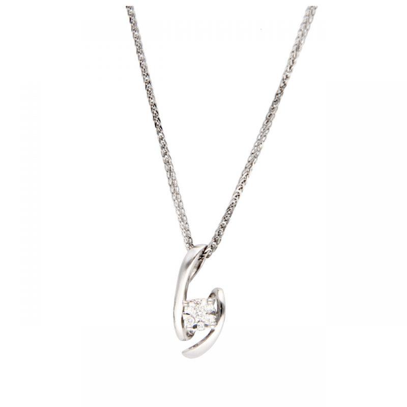Weißgold Halskette mit Anhänger und Diamanten