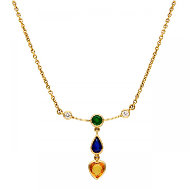 Yellow gold necklace with diamonds and topaz