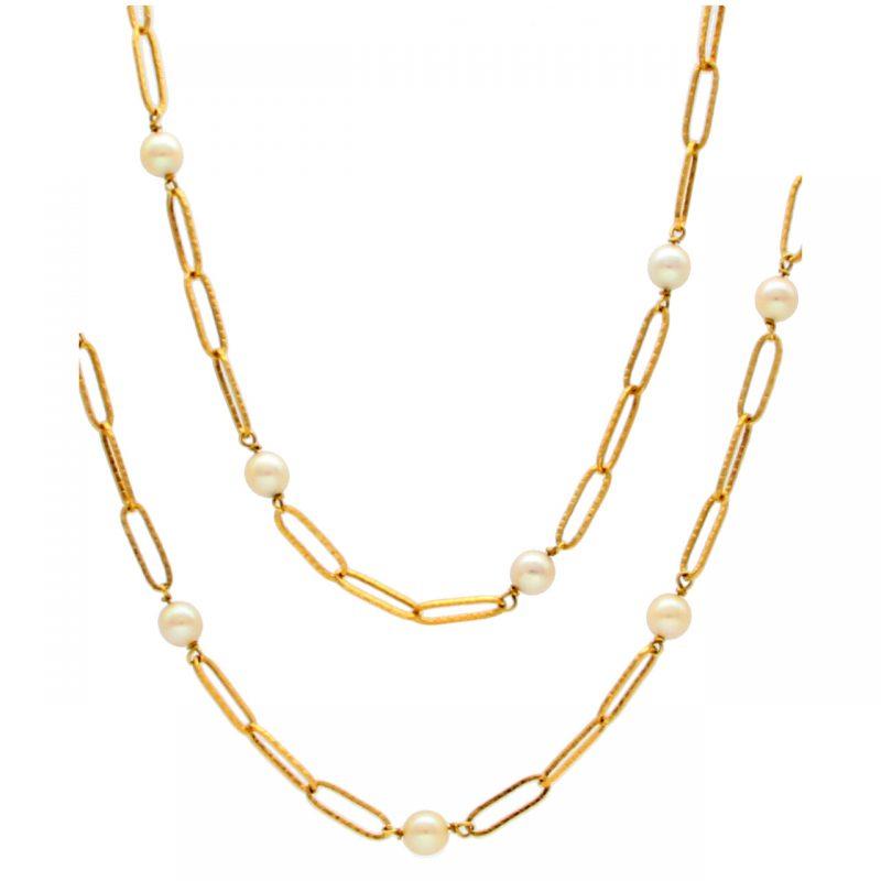 Gelbgold Halskette mit Perlen