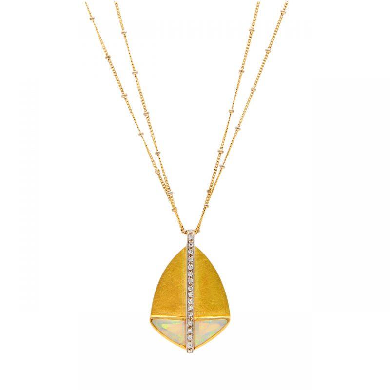Gelb- und Weißgold Halskette mit Anhänger mit Opal und Diamanten