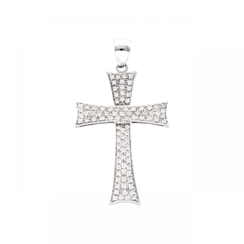 Weißgold Kreuz Anhänger mit Diamanten