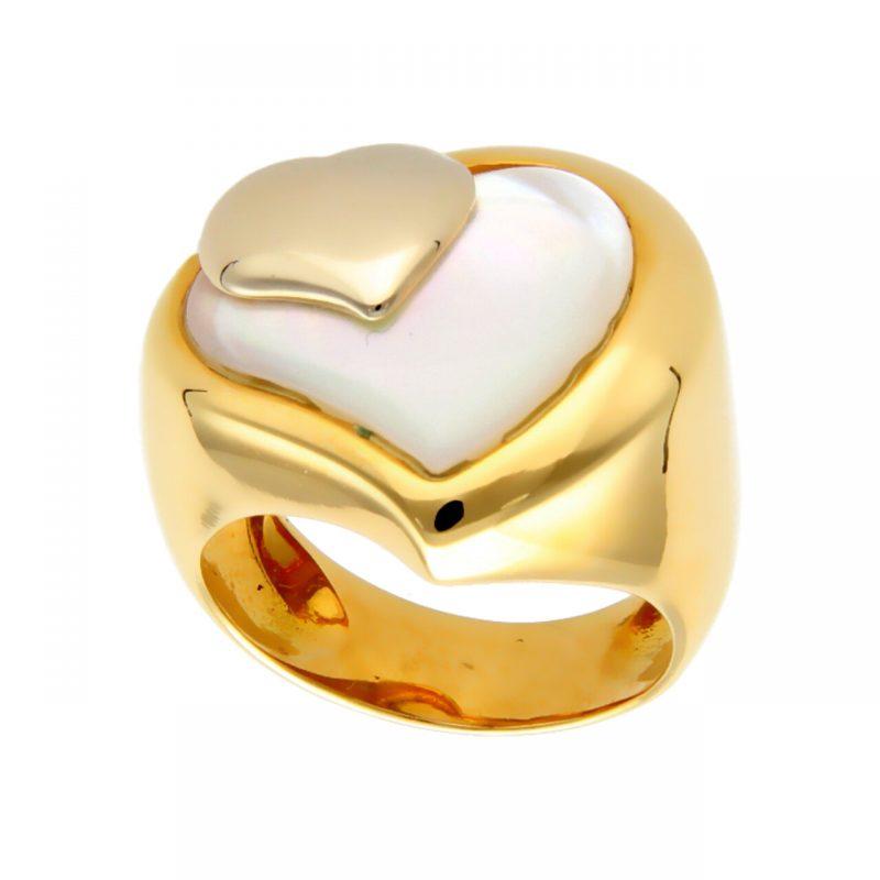Anillo oro amarillo con corazón de nácar