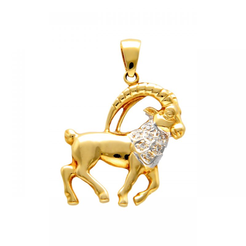Pendant Aries yellow gold with diamonds