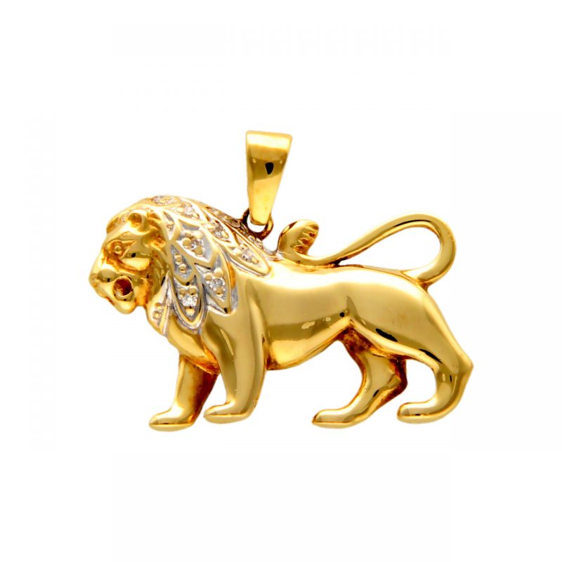 Pendant lion yellow gold with diamonds