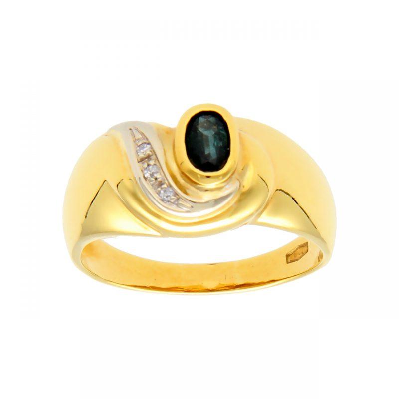Anillo oro amarillo con diamantes y zafiro