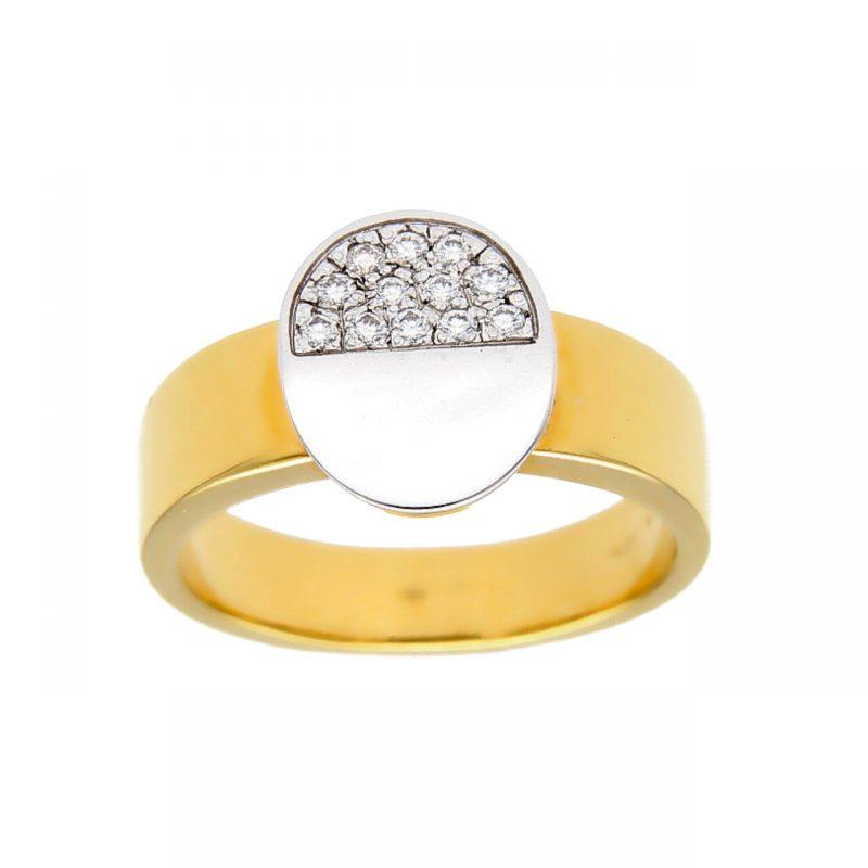 Anello oro giallo e bianco con diamanti