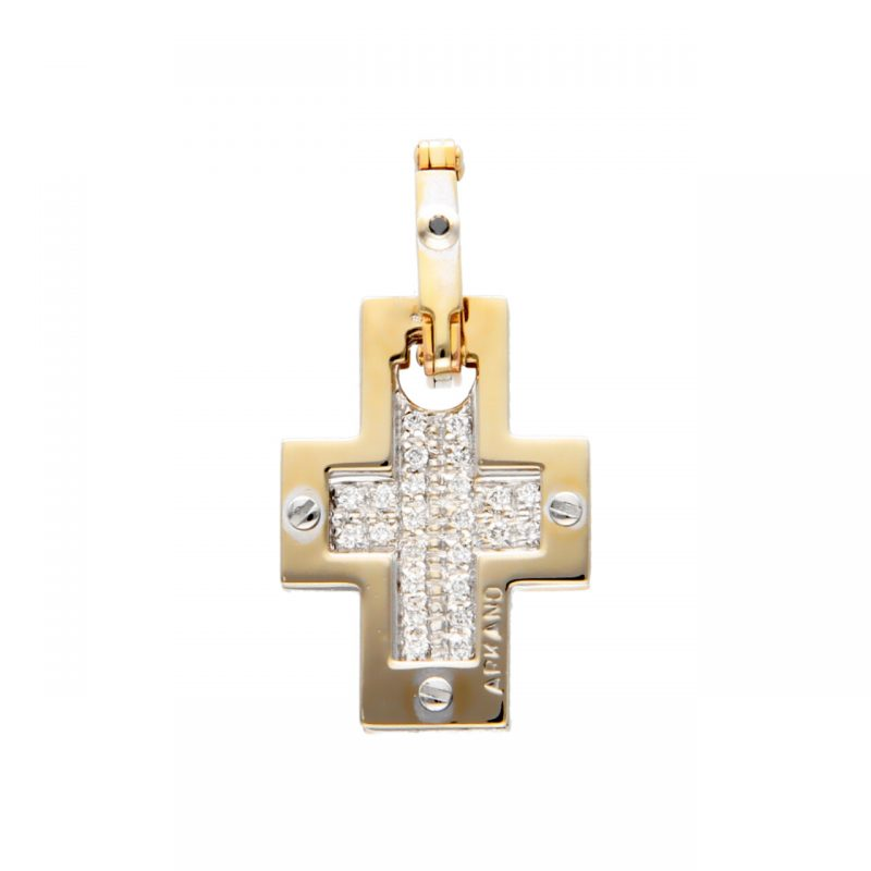 Arkano cross pendant white and yellow gold with diamonds