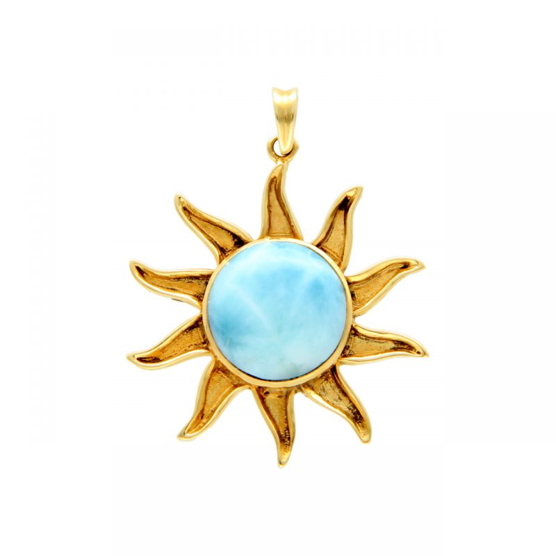 Sun pendant yellow gold with opal