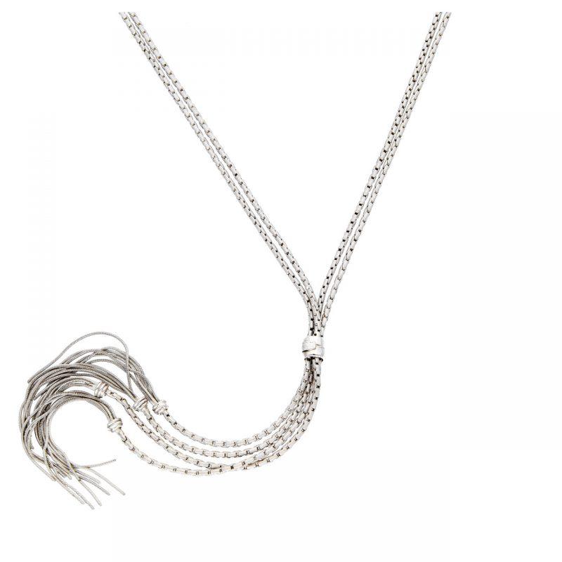 Collana oro bianco con pendente a frangia